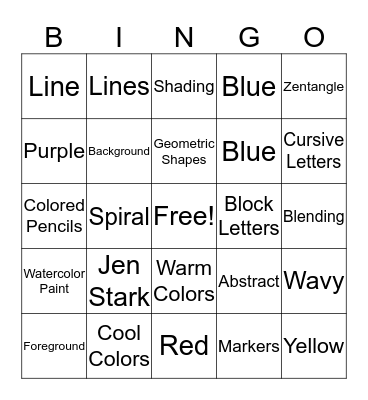 Art Class Bingo Card