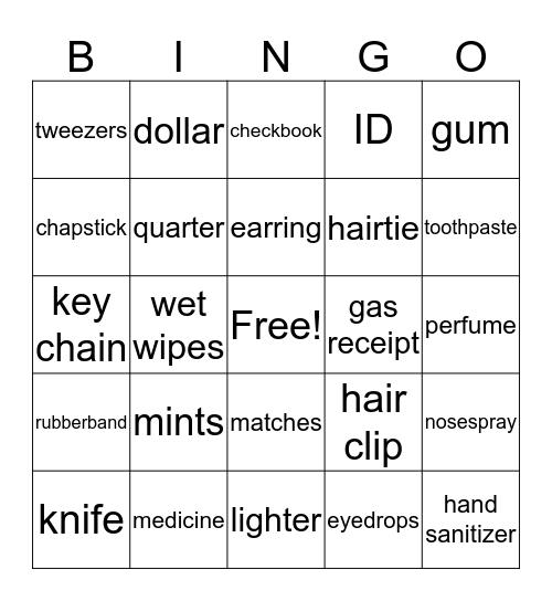 things in a purse Bingo Card