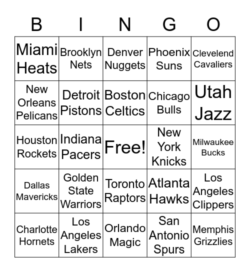 NBA Bingo Card