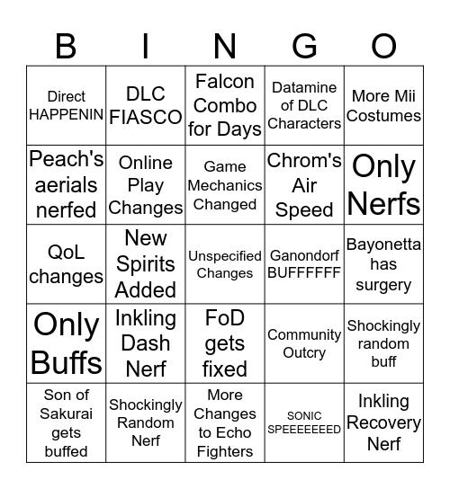 Smash Ultimate 2.0 Patch Notes Bingo Card