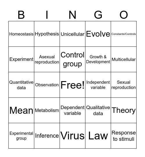Introduction to Biology Bingo Card