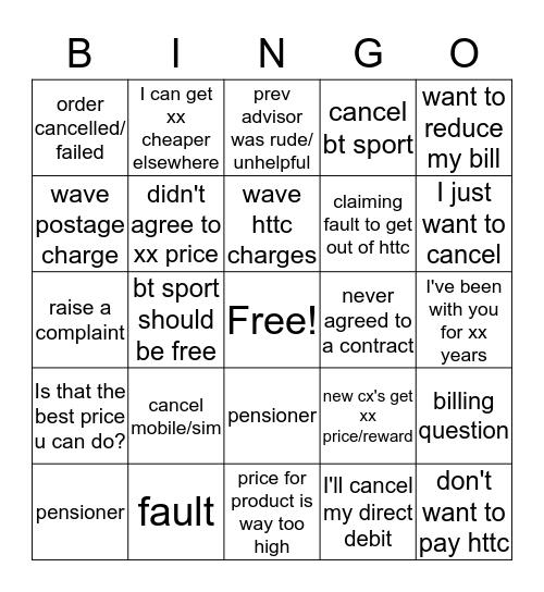 Things customers repeatedly say Bingo Card