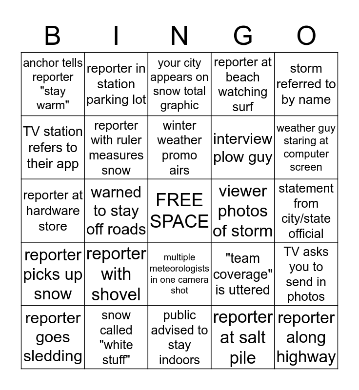 TV Snowstorm Bingo Card