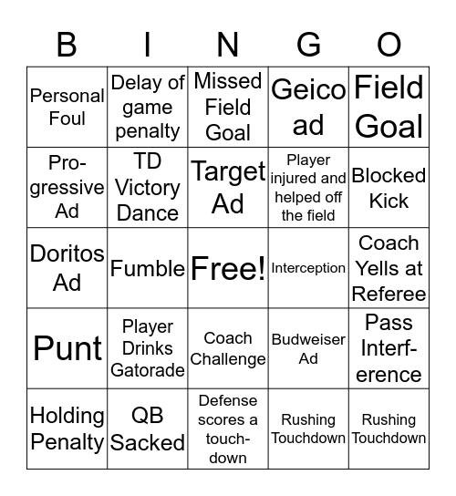 Super Bowl Liii (2019) Bingo Card