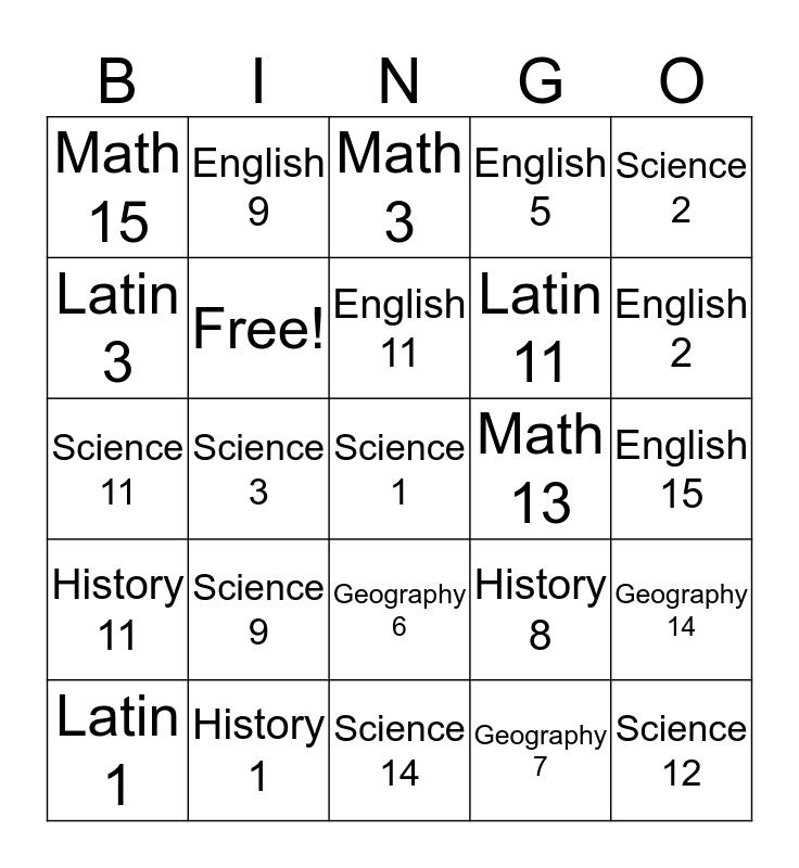 Review Game Bingo Card