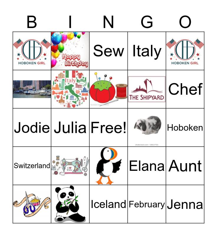 Jodie's 40th Birthday Bingo Card