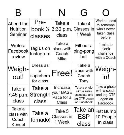OTF Transformation Challenge  2019 Bingo Card