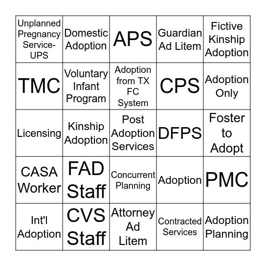 Adoption Bingo Card