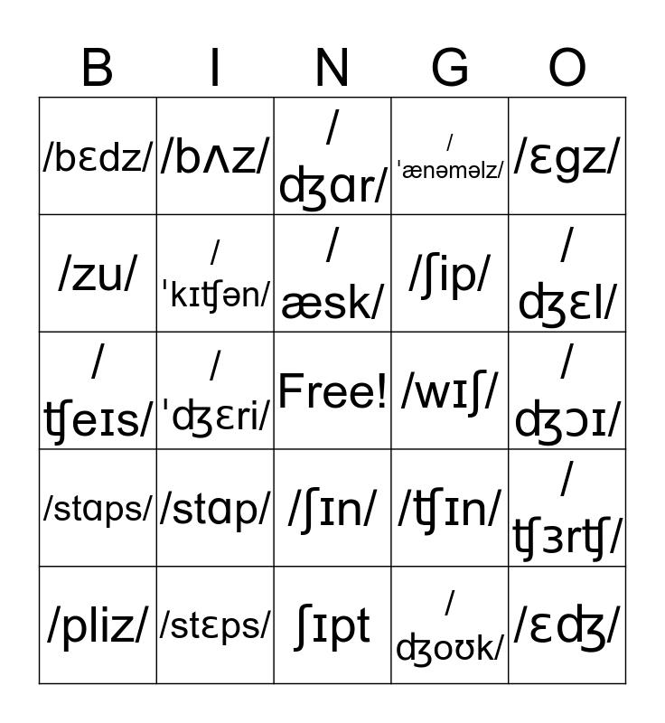 IPA Bingo Card