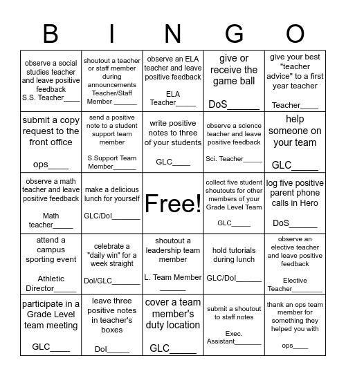 Positivity Challenge Bingo Card