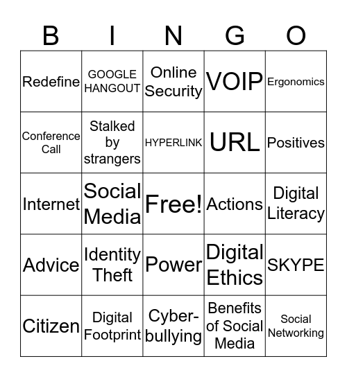 DIGITAL CITIZENSHIP/SOCIAL MEDIA/INTERNET Bingo Card