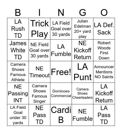 Super Bowl Bingo 2019 Bingo Card