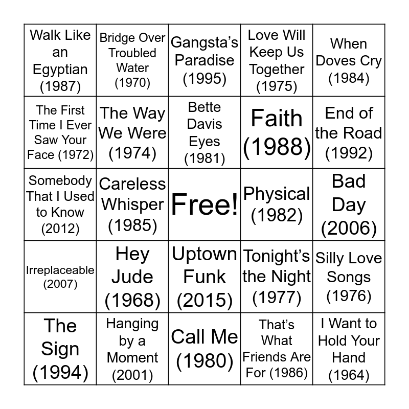 #1 Hits By Year Bingo Card