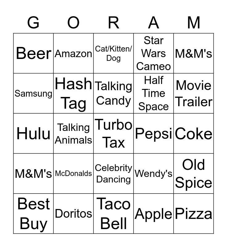Super Bowl Commercials Bingo Card