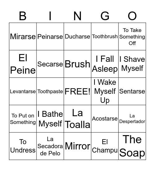 La Rutina Diaria Bingo Card