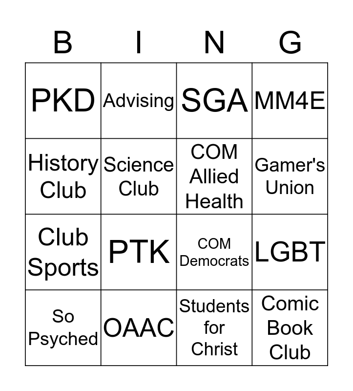 Student Life Join A Club Day Bingo Card
