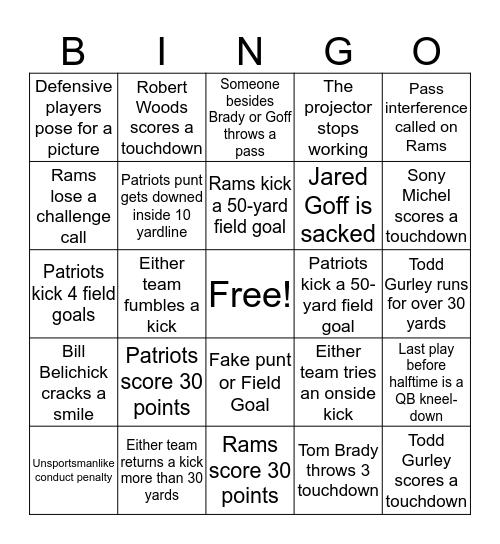 SuperBowl Bingo Card