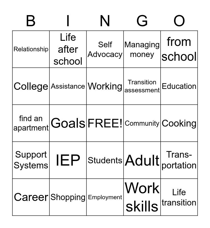 Life  Transitions                                                 Bingo Card