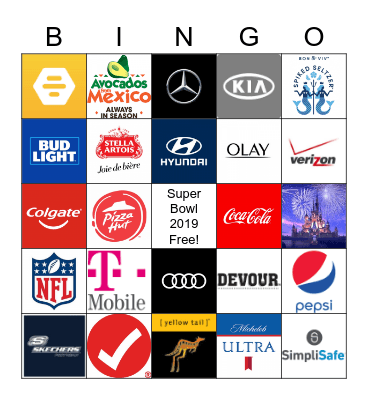 Super Bowl 2019 Bingo Card
