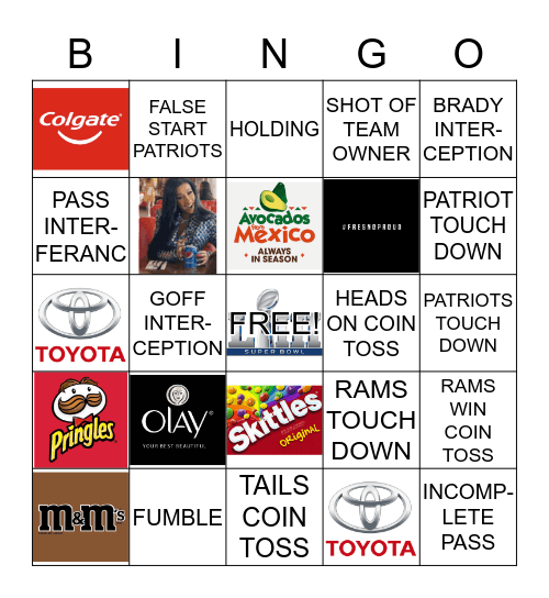 CASA MELTON SUPERBOWL BINGO Card