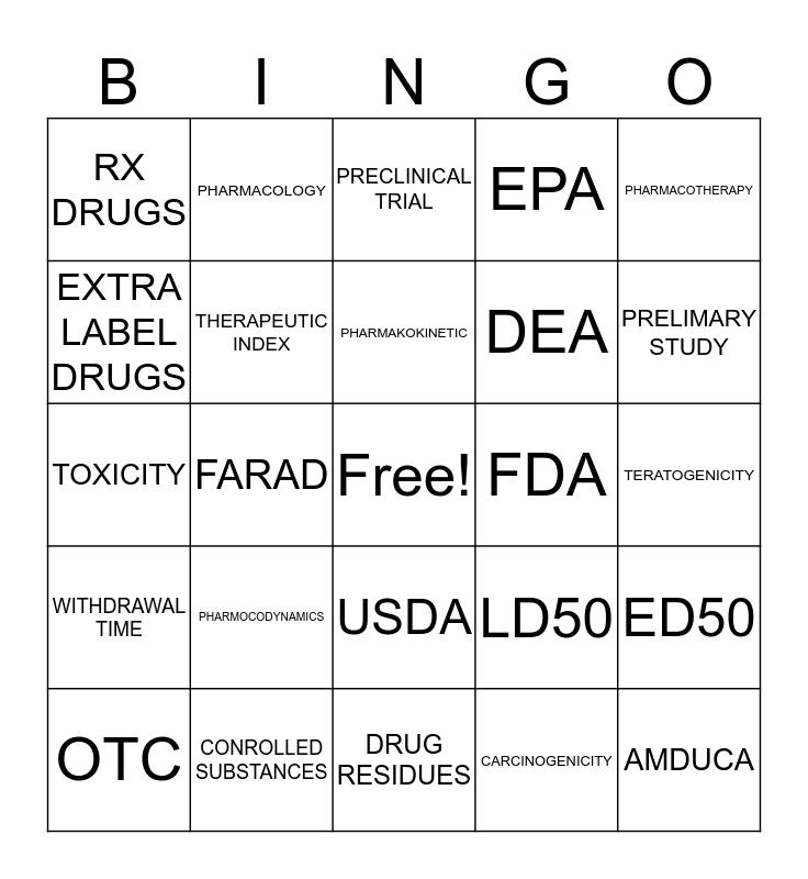 PHARM INTRO Bingo Card