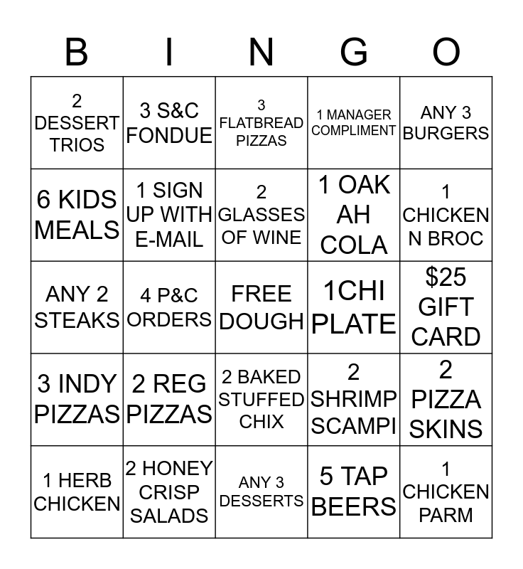 UNO NEWTOWN SQUARE Bingo Card