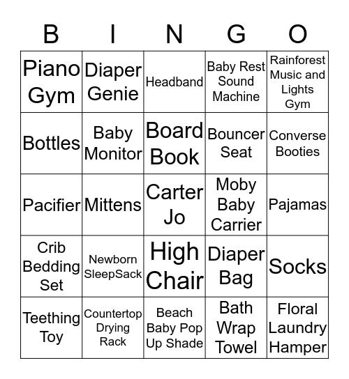 Kaitlyn & Anthony's Baby Shower Bingo Card