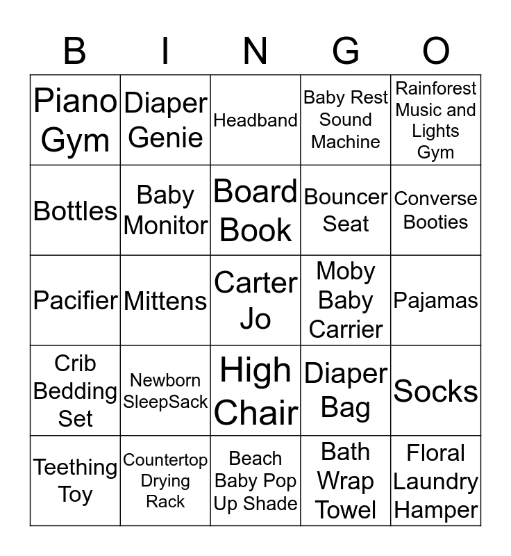 Kaitlyn & Anthony's Baby Shower Bingo Card