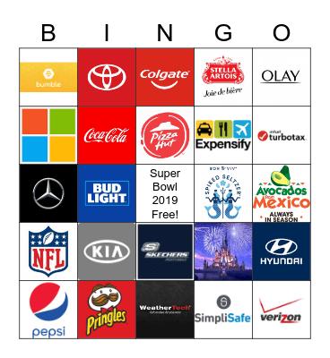 Super Bowl Ads 2019 Bingo Card