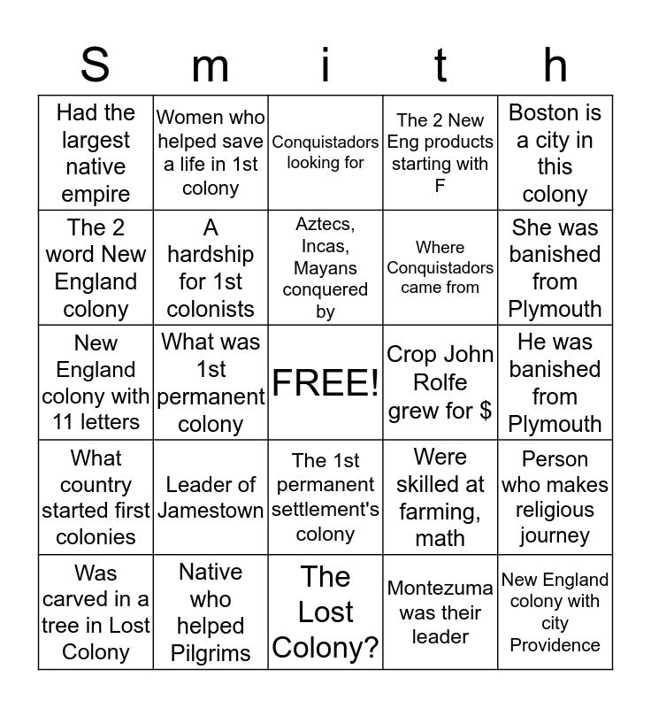North America Settlement Bingo Card
