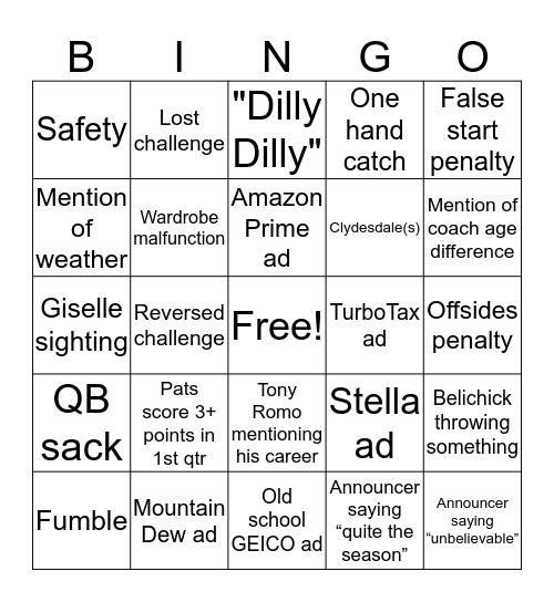 Supah Bowl Fiddy Tree Bingo Card
