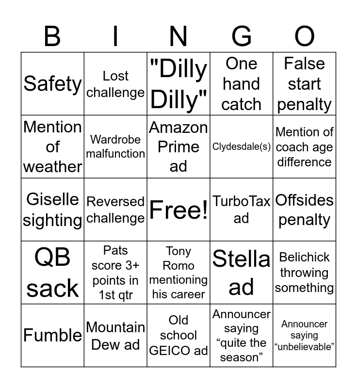 Supah Bowl Fiddy Tree Bingo Card