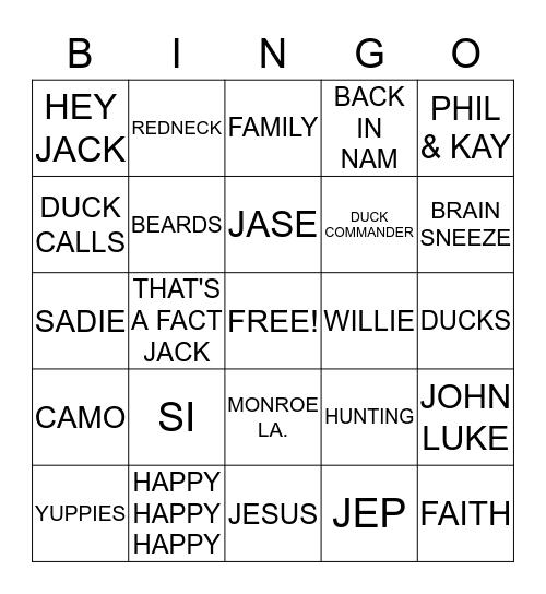 Duck Dynasty Bingo Card