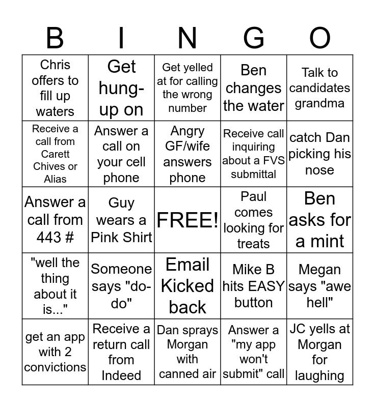 Tech Team Bingo Card