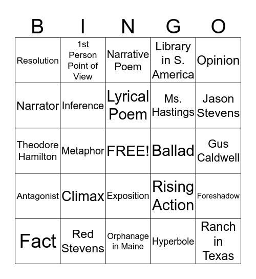 1st Semester Review Bingo Card