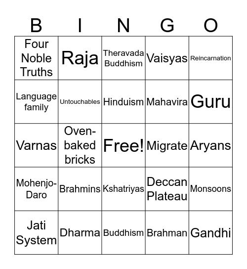 Ancient India Bingo Card