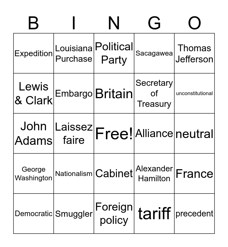 Washington & Jefferson Bingo Card