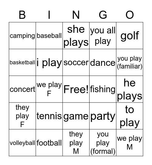 Quieres ir conmingo? Bingo Card