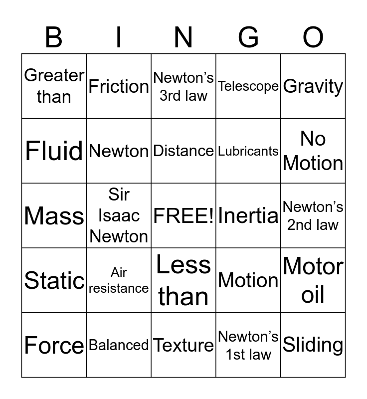 Forces and Motion Bingo Card