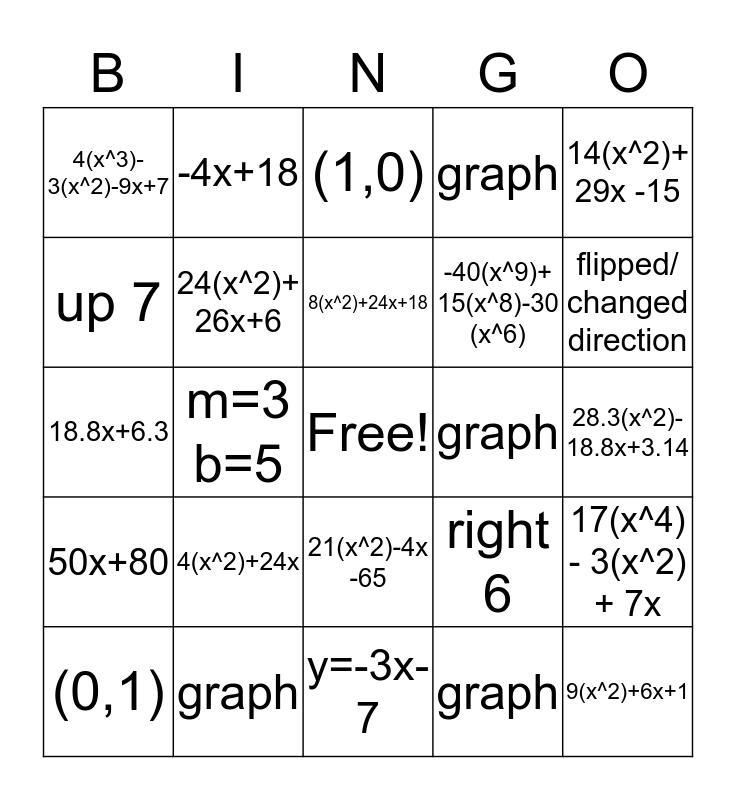 EXAM REVIEW  Bingo Card