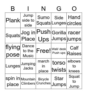 Exercise Bingo Card