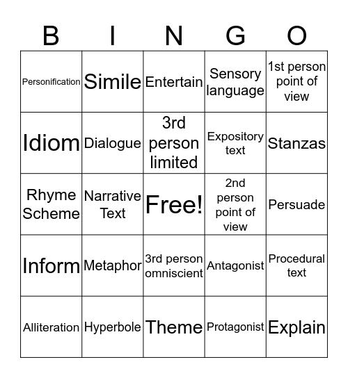 ELAR Vocabulary Bingo Card