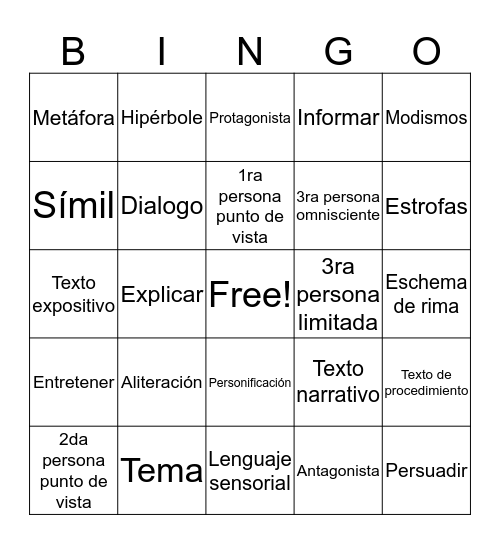 SLAR Vocabulario Bingo Card