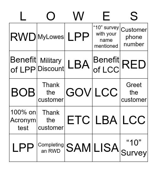 FRONT END LOWEINGO Bingo Card