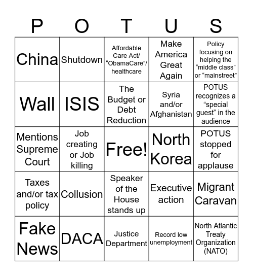 State of the Union Bingo Card
