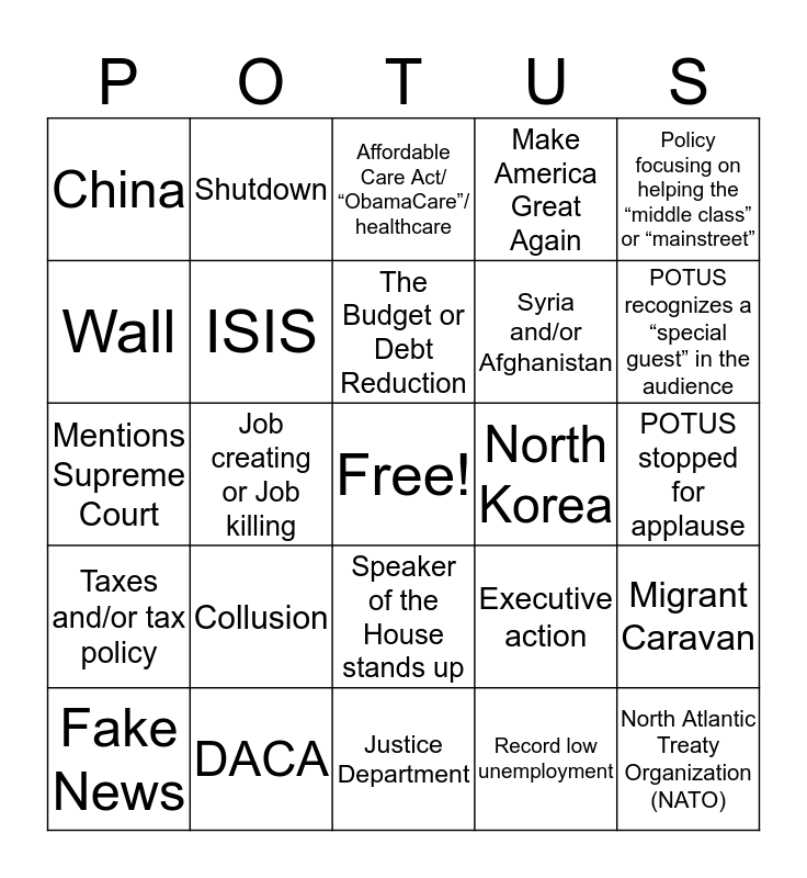 State of the Union Bingo Card