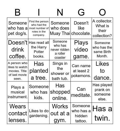 Performance Excellence Human Bingo Card