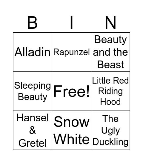 Fairy Tale Bingo Card
