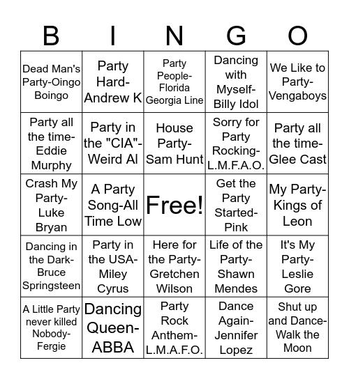 BB18 Dance/Party Bingo Card