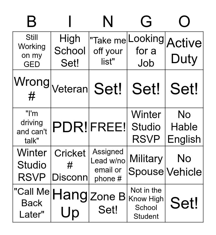 Phone Bingo! Bingo Card